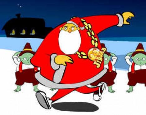 Прикольный танцующий Санта Клаус.