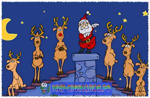 Новогодний флешь прикол. Санта и олени.
